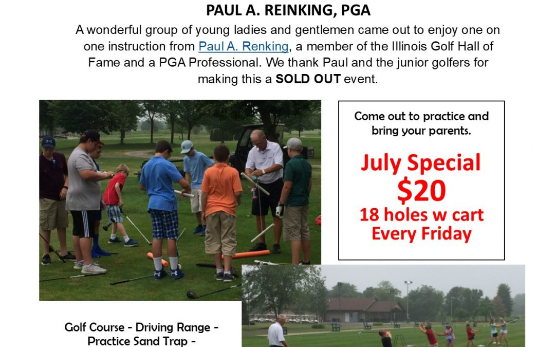Aspen Ridge Golf Course Junior Golf Campers thank Paul A. Reinking, PGA Pro.