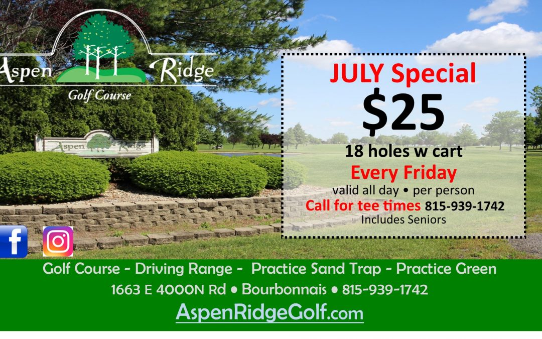18 holes with cart for $25 on Fridays
